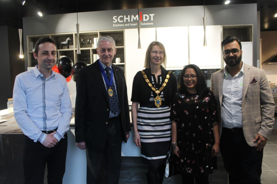 Schmidt Kitchens' Epsom launch with Councillor Liz Frost, The Mayor of Epsom, and Councillor Chris Frost