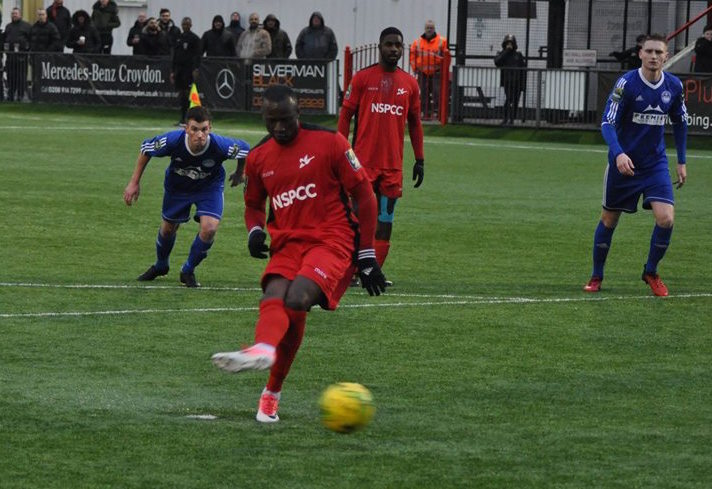 Omar Koroma tucks away his penalty for Carshalton Athletic. Picture: Ian Gerrard