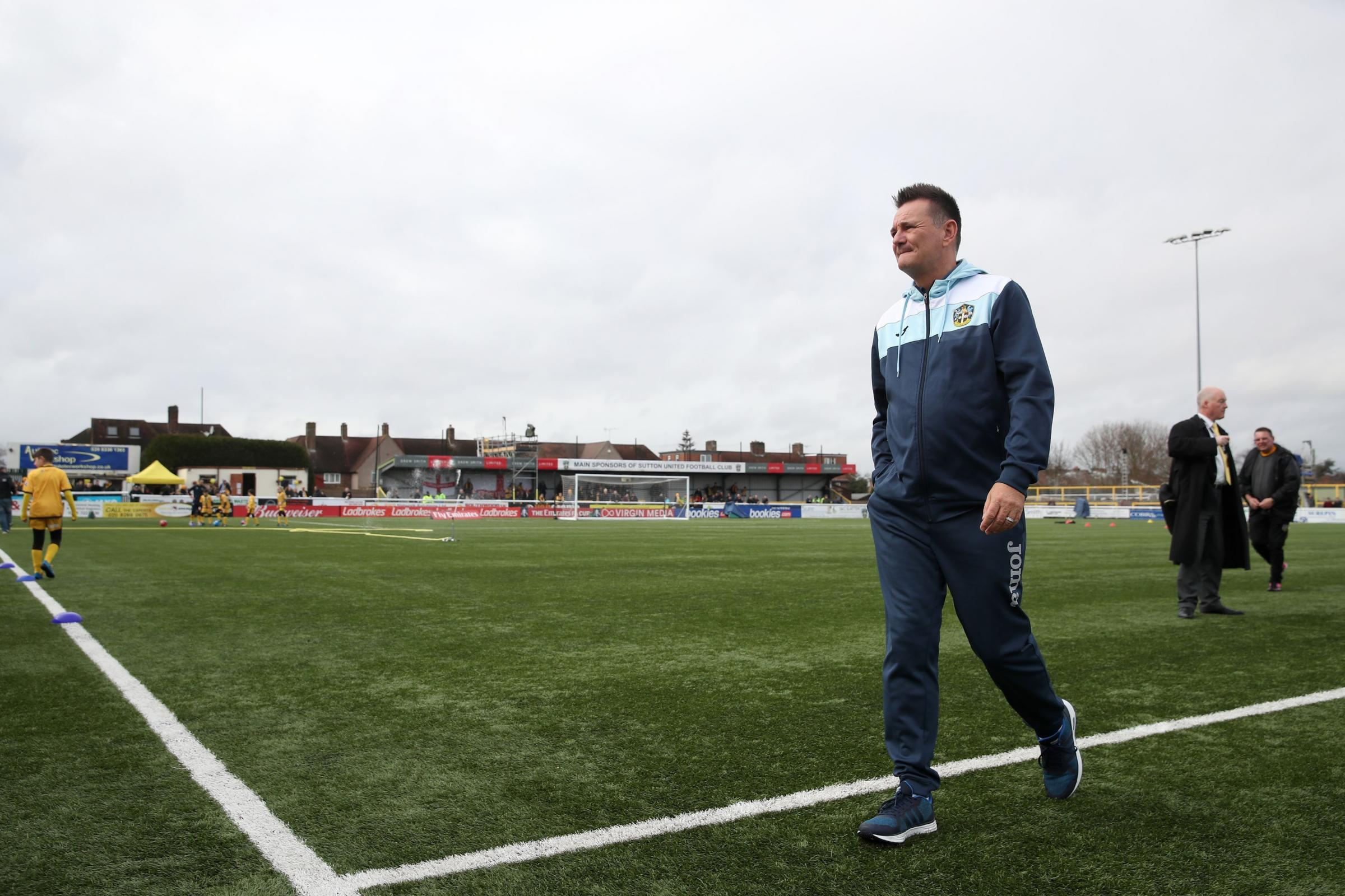 Sutton United manager Paul Doswell posted a series of Tweets about the 3G pitch situation on Sunday. Photo: Nick Potts/PA