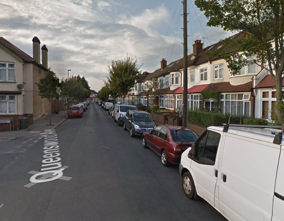 A terraced house in Queenswood Avenue is on fire. Photo: Google Maps