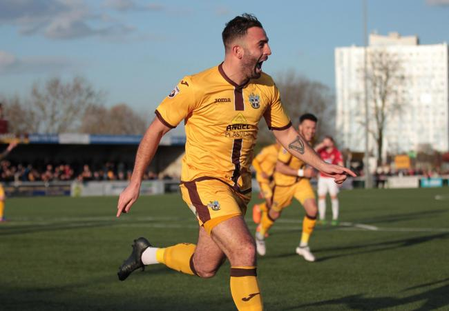 Simon Walton celebrates his leveller for Sutton United against Wrexham on Saturday. Picture: Paul Loughlin