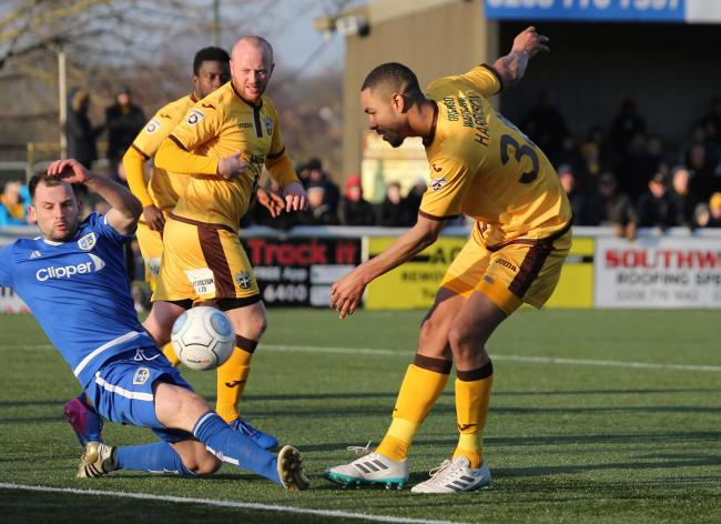 Byron Harrison scored Sutton United's first goal against Woking on Tuesday night. Picture: Paul Loughlin