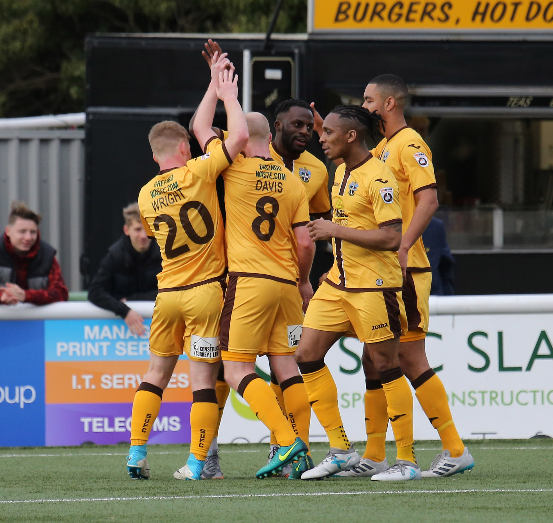 Sutton United players celebrate Tom Bolarinwa's spectacular goal against Solihull Moors. Picture: Paul Loughlin