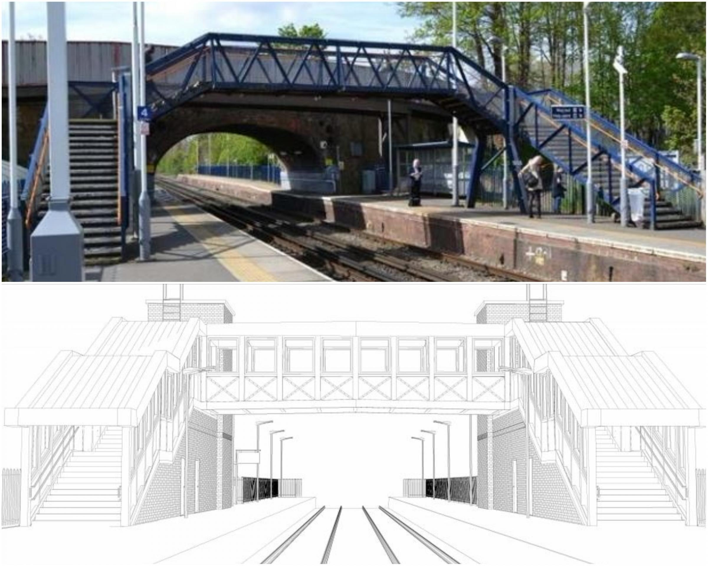 The existing footbridge and plans submitted