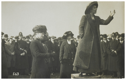 Rose Lamartine Yates leader of Wimbledon's suffragettes speaking at Wimbledon Common in 1912
