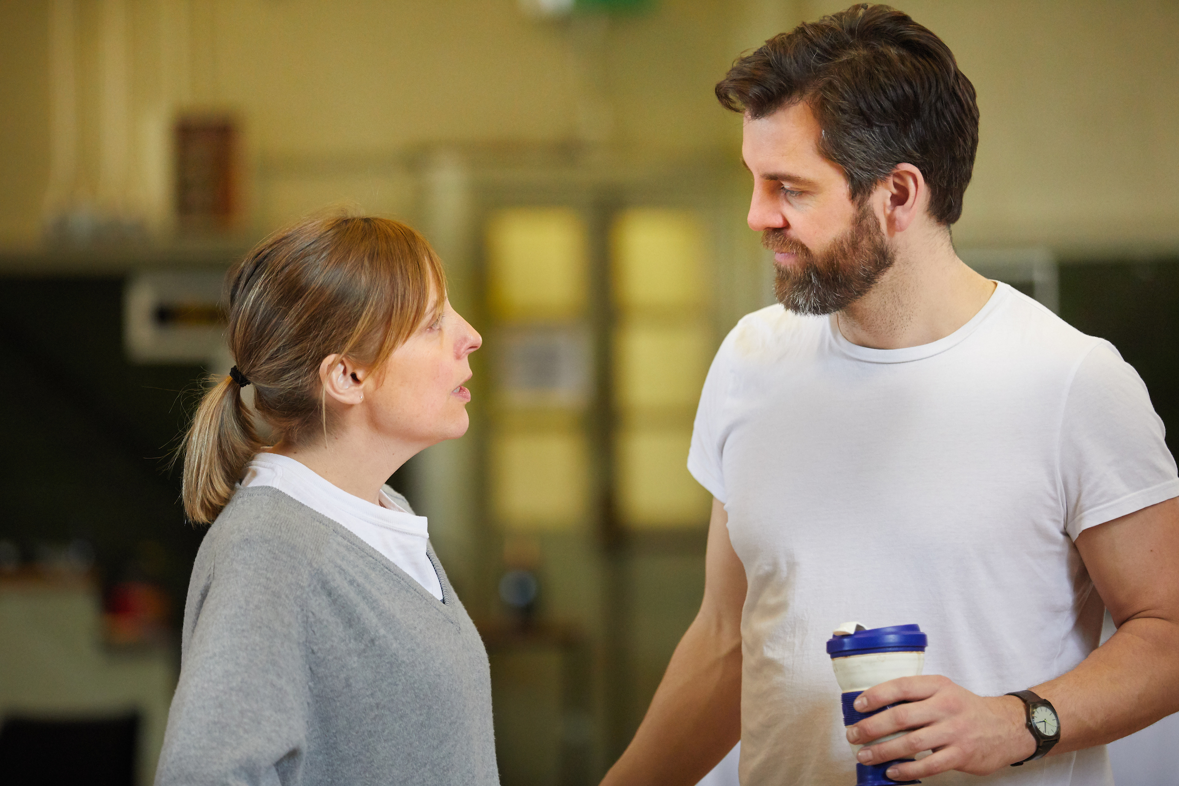 Mel Giedroyc with John Hopkins preparing for Much Ado About Nothing at the Rose Theatre. Photo: Mark Douet