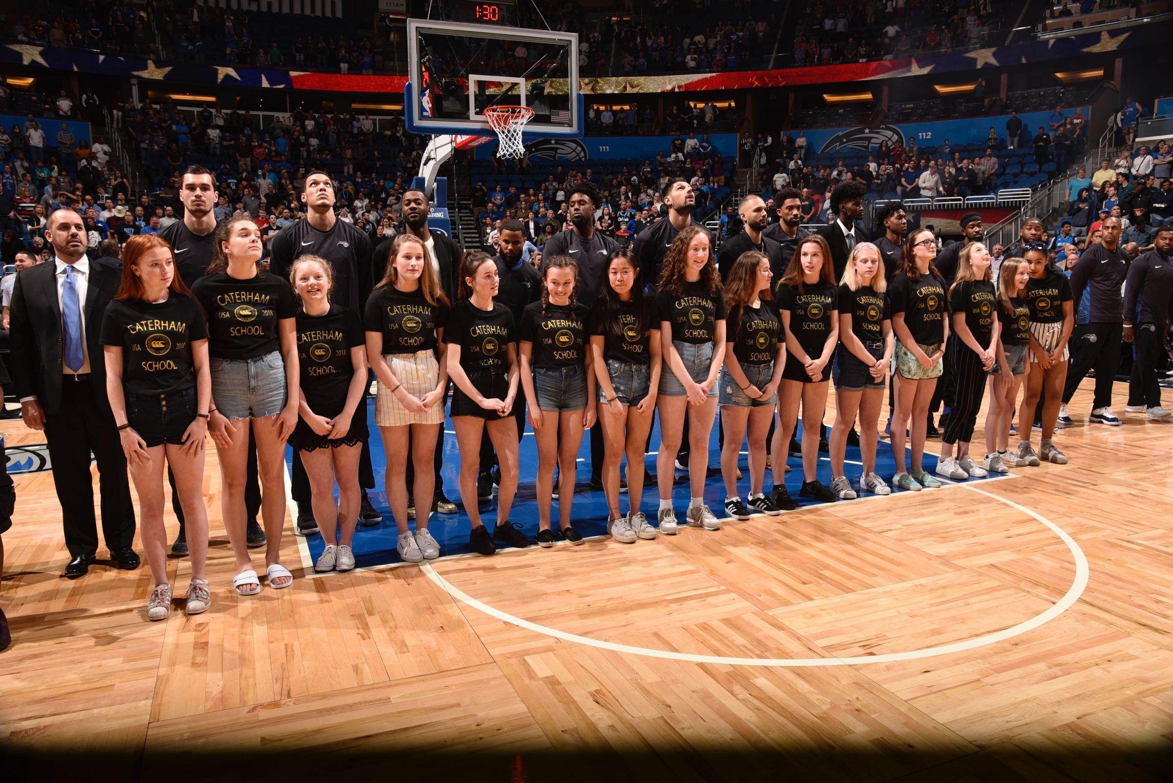 Caterham schoolgirls were the on-court guests at an NBA game this week