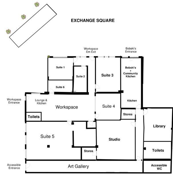 The proposed floor plan at Exchange Square