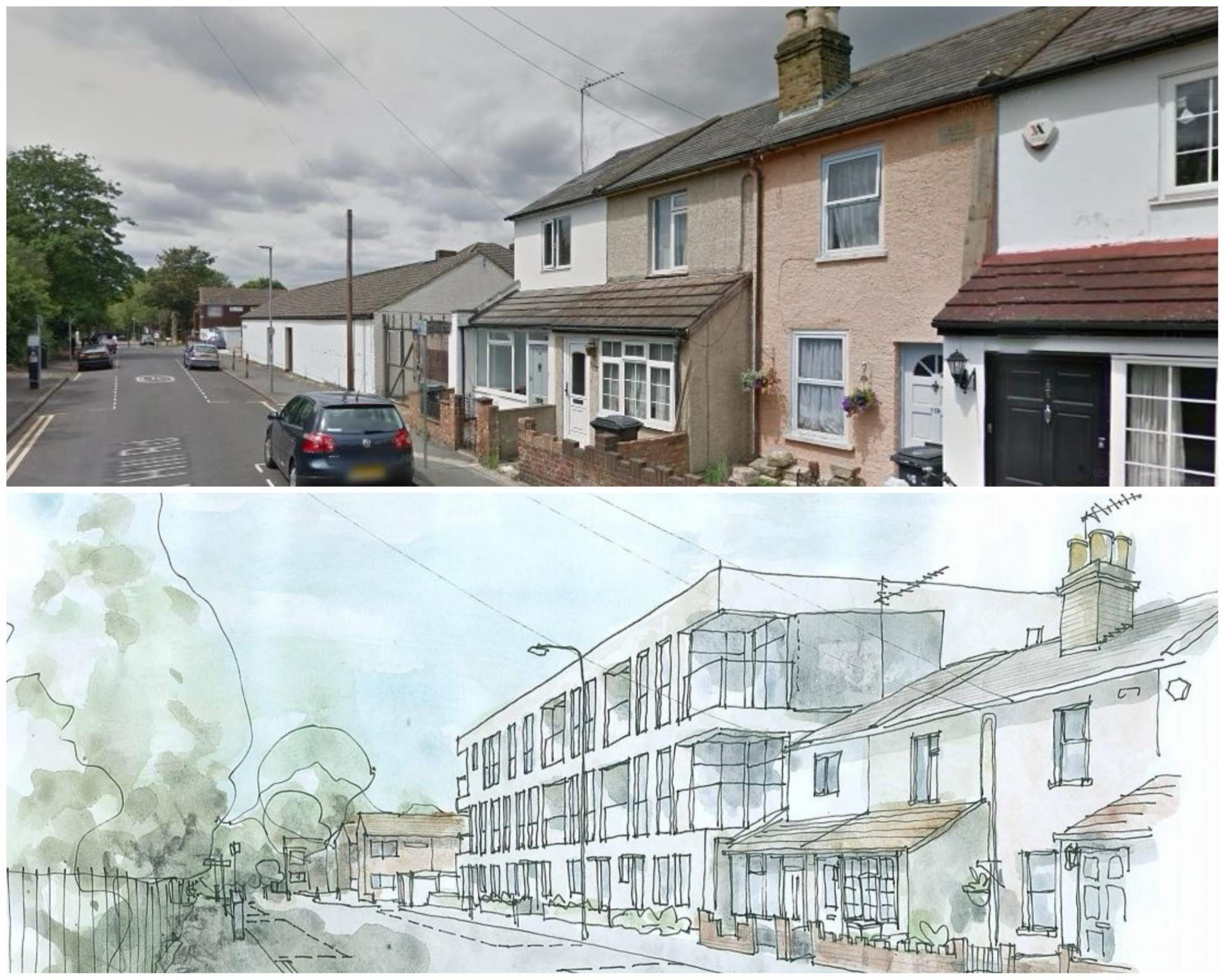 The current view and an artist's impression of how the development will look (top photo: Google Maps)