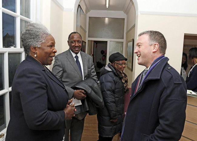 Cassandra McDermott's mother (for whom the Cassandra Centre is named after) Jennifer talks to Croydon North MP Steve Reed at the launch of the Cassandra Learning Centre in 2015