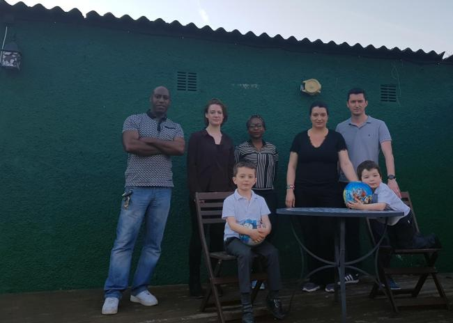 Neighbours Peter Brewster, Sarah Edwardson, Bertha Fagbohun, Alex Toogood, Rob Toogood with Jack Toogood (five) and Harry Toogood (three)in front. At Alex Toogood\'s which backs onto Avenue Road where a block of flats has been approved. Free for use b