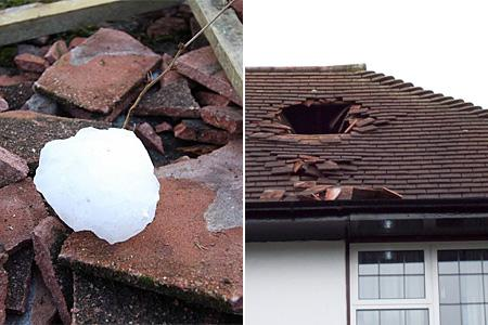 A six-foot hole was torn in the roof of a New Malden family home after a giant block of ice, believed to have fallen from a passing aircraft, apparently smashed into the house.