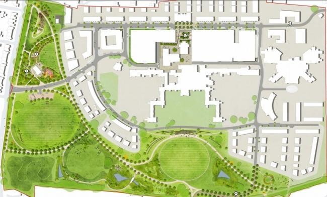 A map of Springfield Park in the context of the whole hospital site development