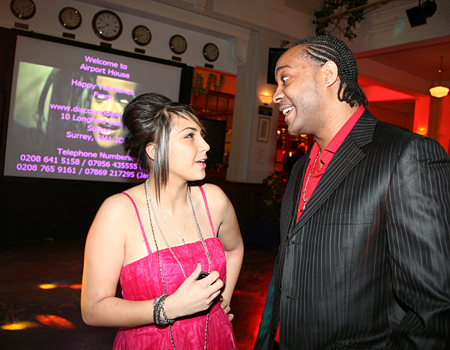 Eliza meets singer Audley Harrison at a ball to raise awareness about knife crime