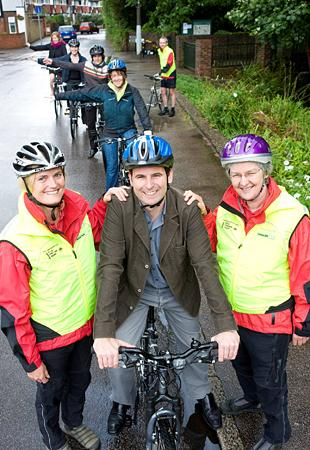 Cllr Colin Hall with two National Standards Cycle Trainers, Alison Brann (left) and Sue OSullivan