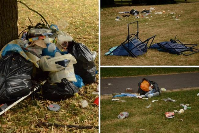 Images of fly-tipped rubbish having been left in Beddington Park