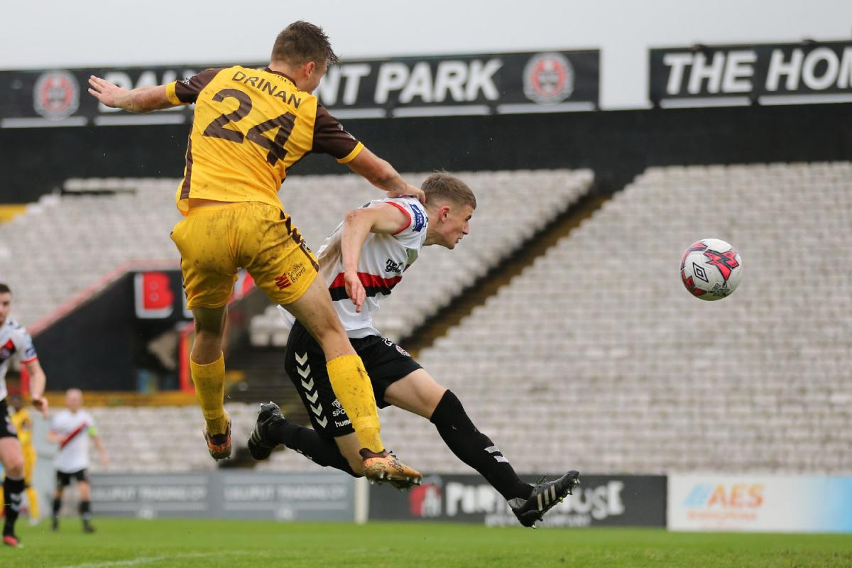 Aaron Drinan, seen here in action against Bohemians, scored a last minute winner for Sutton United at Wealdstone in the FA Cup. Picture: Paul Loughlin