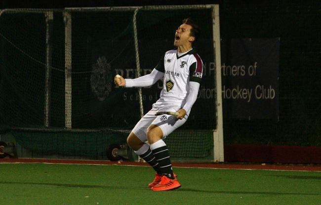 Alan Fosyth celebrates scoring agianst Hampstead (pic:Tim Reder)