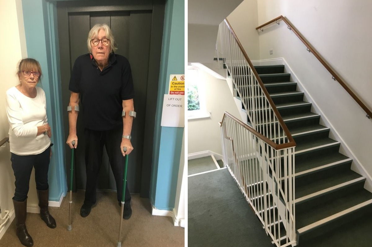Tony Truss and other residents of the Anchor Trust home are 'trapped' because of a faulty elevator