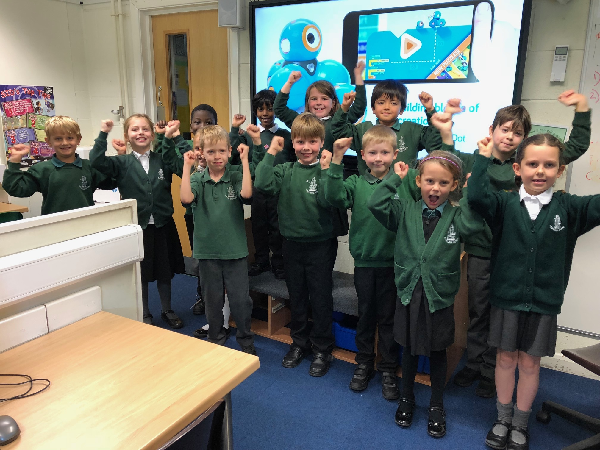 Trafalgar Infant School Pupils with their ActivPanel