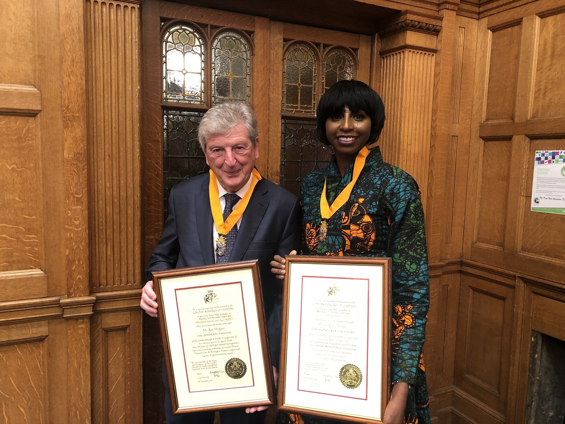 Roy Hodgson and Donna Fraser awarded freedom of the borough by Croydon Council on Monday, December 3.