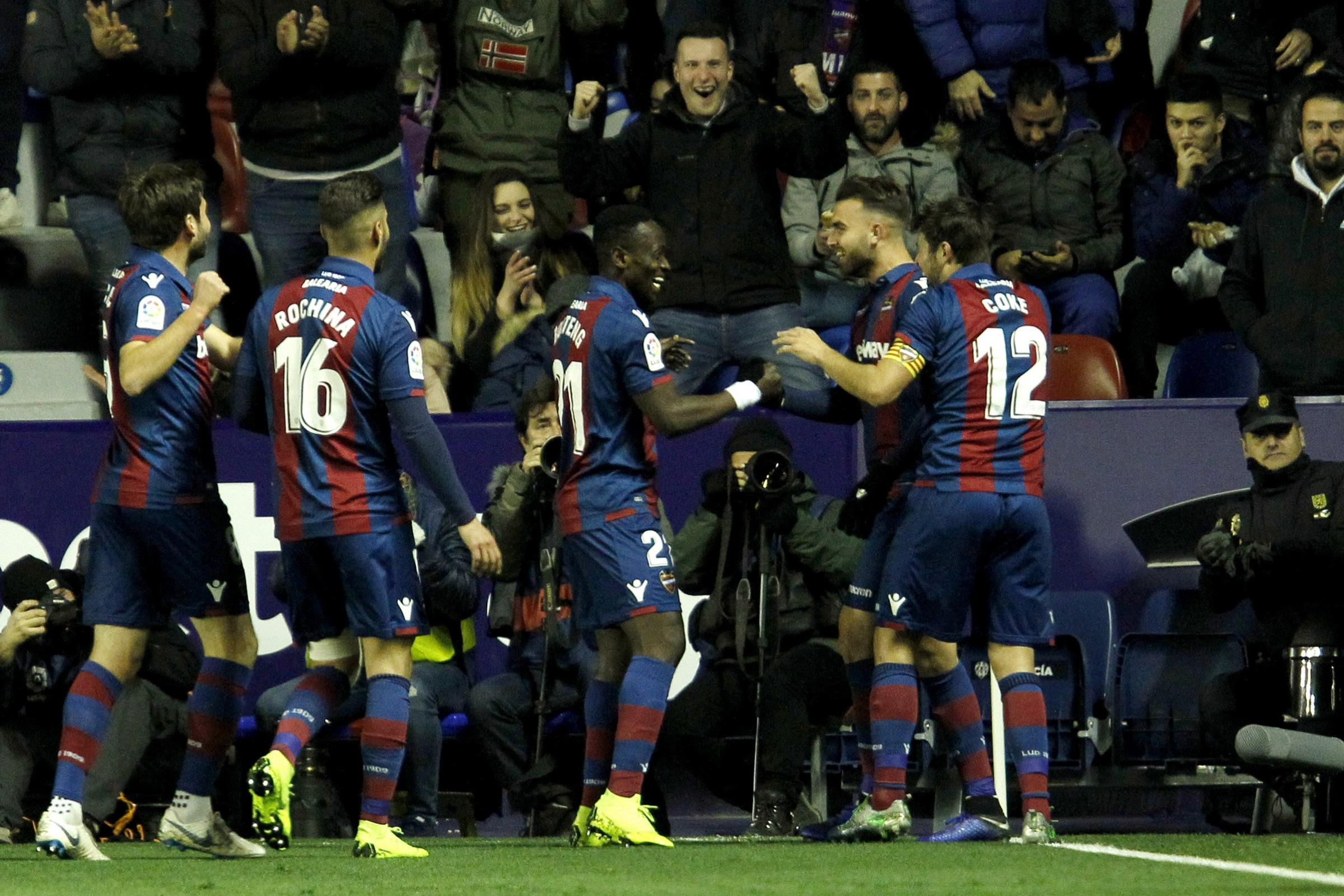 Levante's Borja Mayoral, second right, gave his side a 2-0 lead
