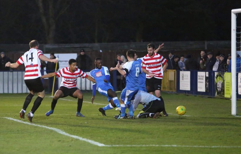Tonbridge's Chinedu McKenzie stabs home the winner from close range after Joe Turner's floated free-kick bamboozled the K's defence. Pic: Tonbridge Angels FC