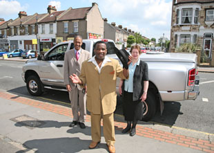 Croydon central prospective parliamentary candidate Winston McKenzie was joined by fellow candidate Marianne Bowness (Croydon South) and party secretary John Charles in the Dodge Ram car