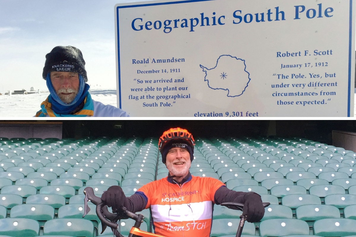Patrick McIntosh, the grandfather who has survived three different types of cancer is cycling from Twickenham to Tokyo to raise cash for charity (bottom). He has previously climbed Mount Kilimanjaro, sailed across the Atlantic and trekked to the South Pol