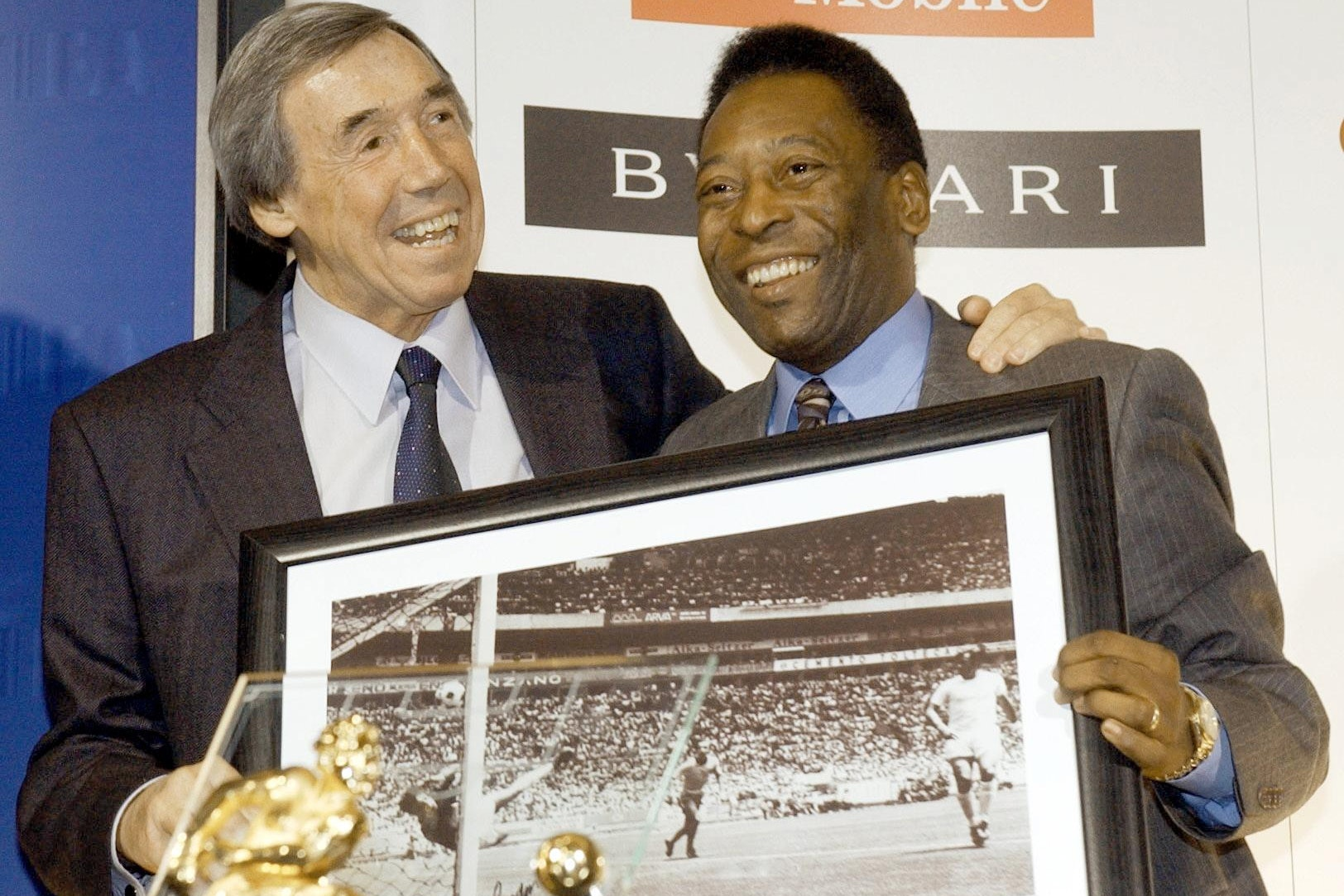 England goalkeeper Gordon Banks, left, produced a brilliant save to deny Pele a goal at the 1970 World Cup finals in Mexico