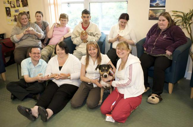 Some of the patients at Huntercombe with their animals