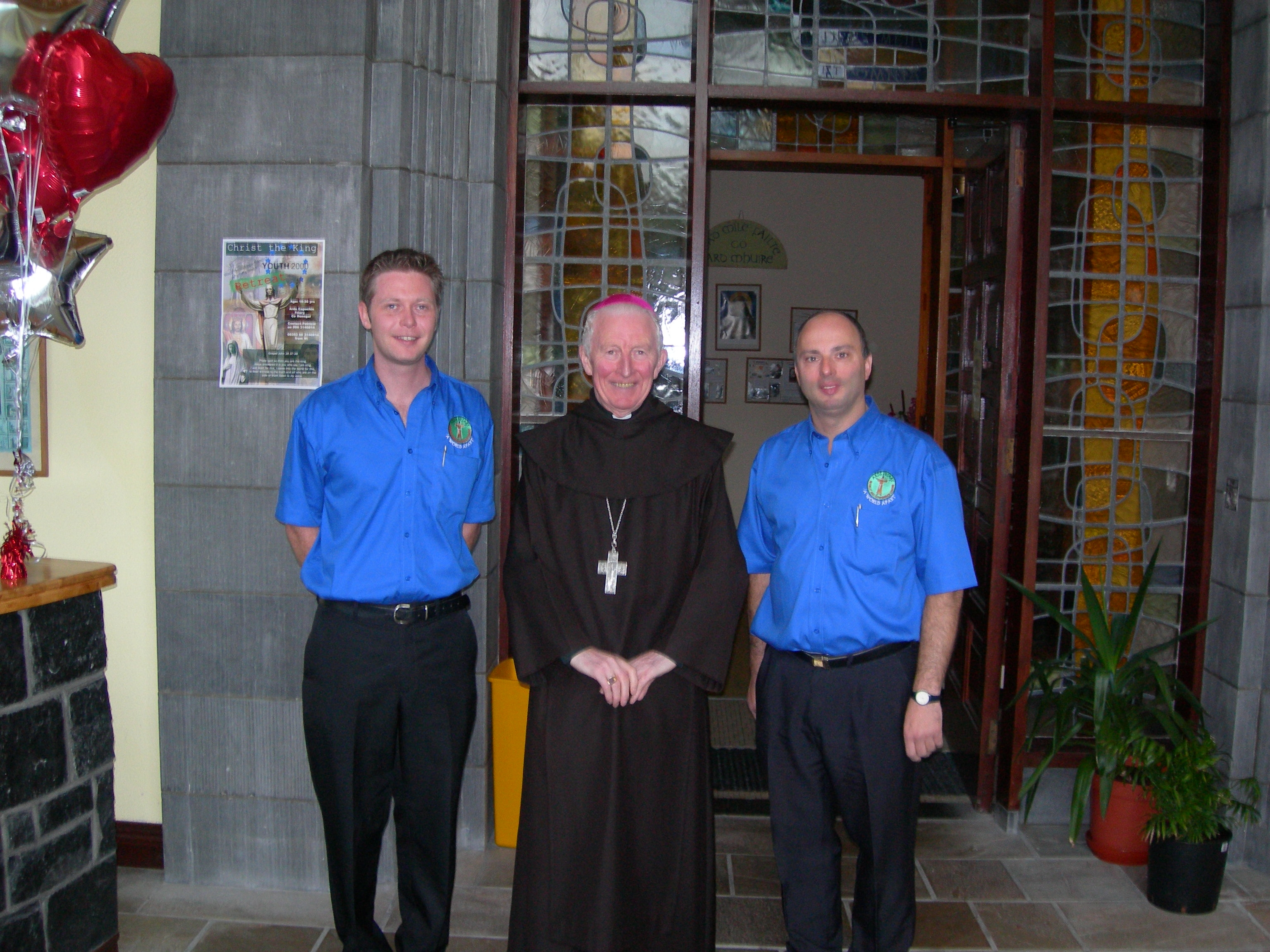 John Paul Lyttle (far left) with Bishop Philip Boyce and Benito Colangelo