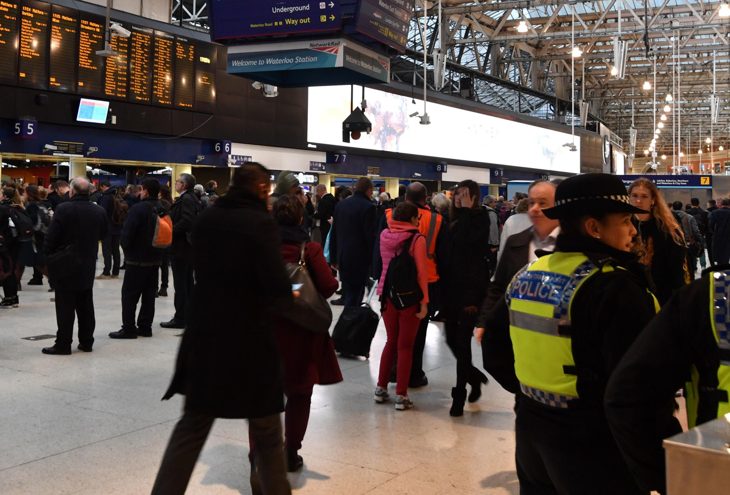British Transport Police Officers on the concourse of Waterloo Railway Station. Picture: John Stillwell/PA Wire