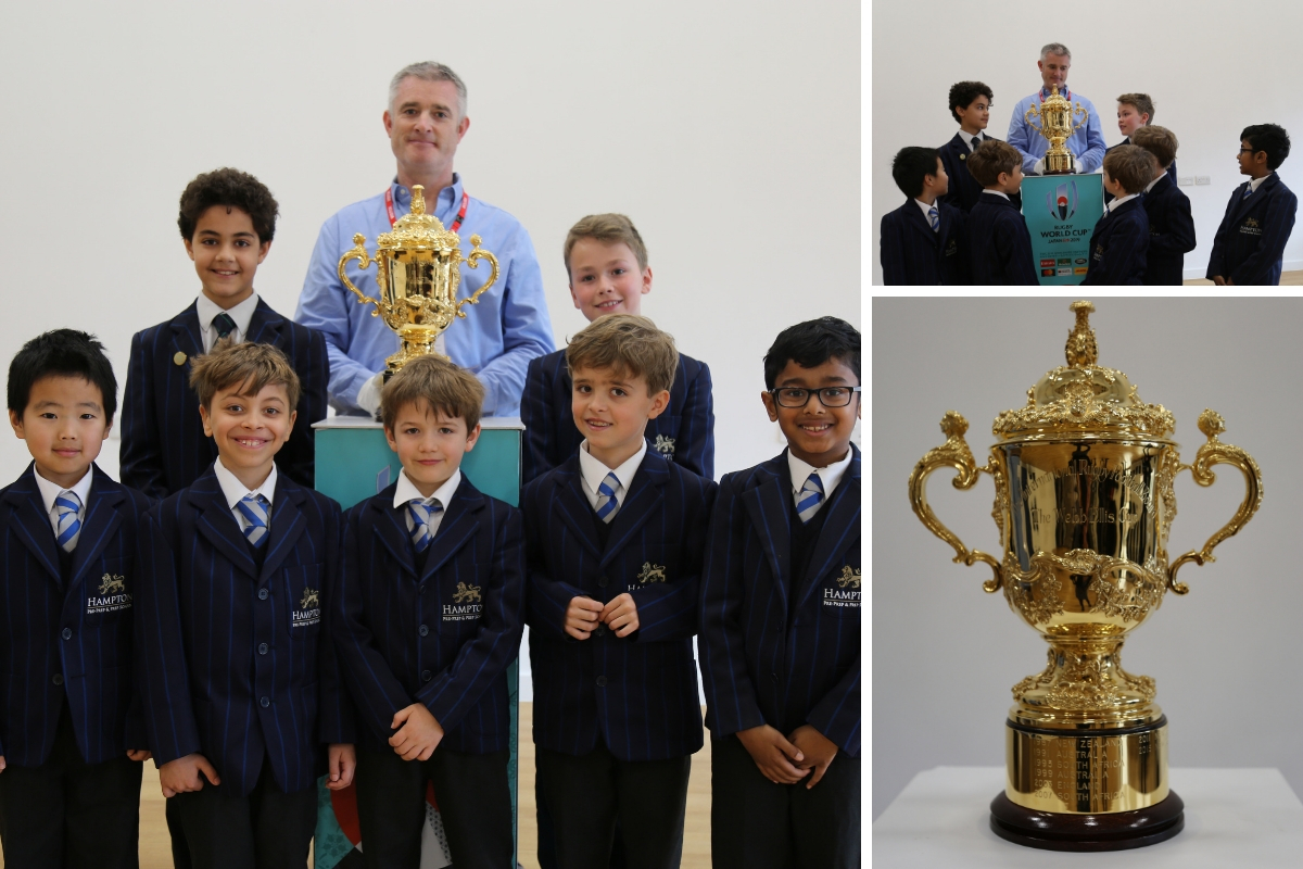 The kids got up close and personal with the Webb Ellis Trophy.