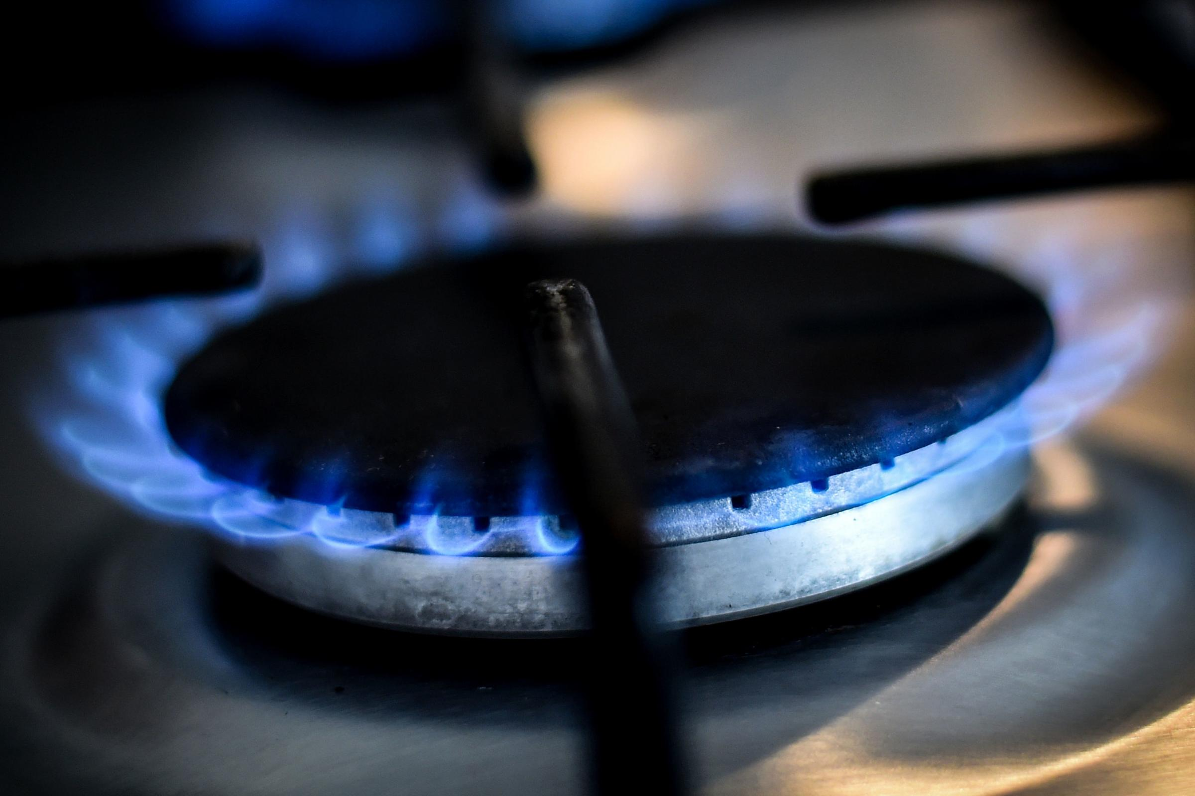 A gas ring on a cooker