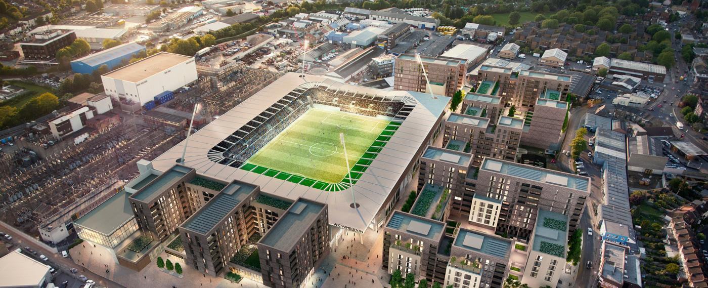 A CGI of what the stadium and housing at Plough Lane, Wimbledon would look like. Credit: Galliard Homes. Free for use by BBC wire partners.