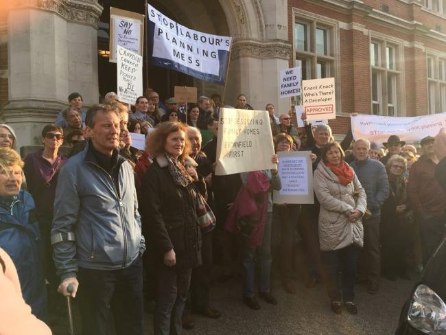 A protest outside Croydon Town Hall against the councils plannign policy took place on April 1