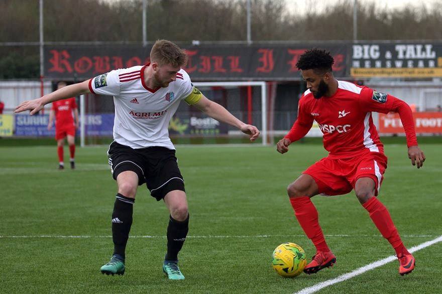 Ricky Korboa (right) in action for Carshalton Athletic. Picture: Chris Bushe