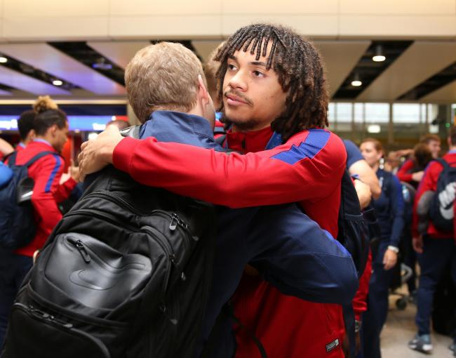 England U'17s Nya Kirby as the Under-17 World Cup winning side arrive back to the UK, at Heathrow Airport.