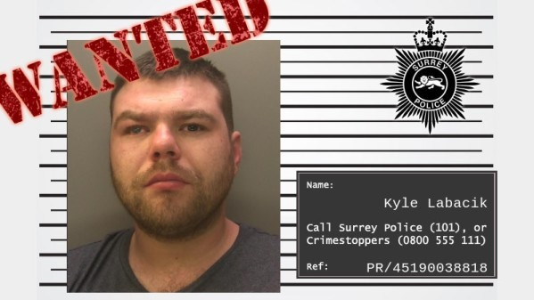 Kyle Labacik pictured in an image issued by Surrey Police