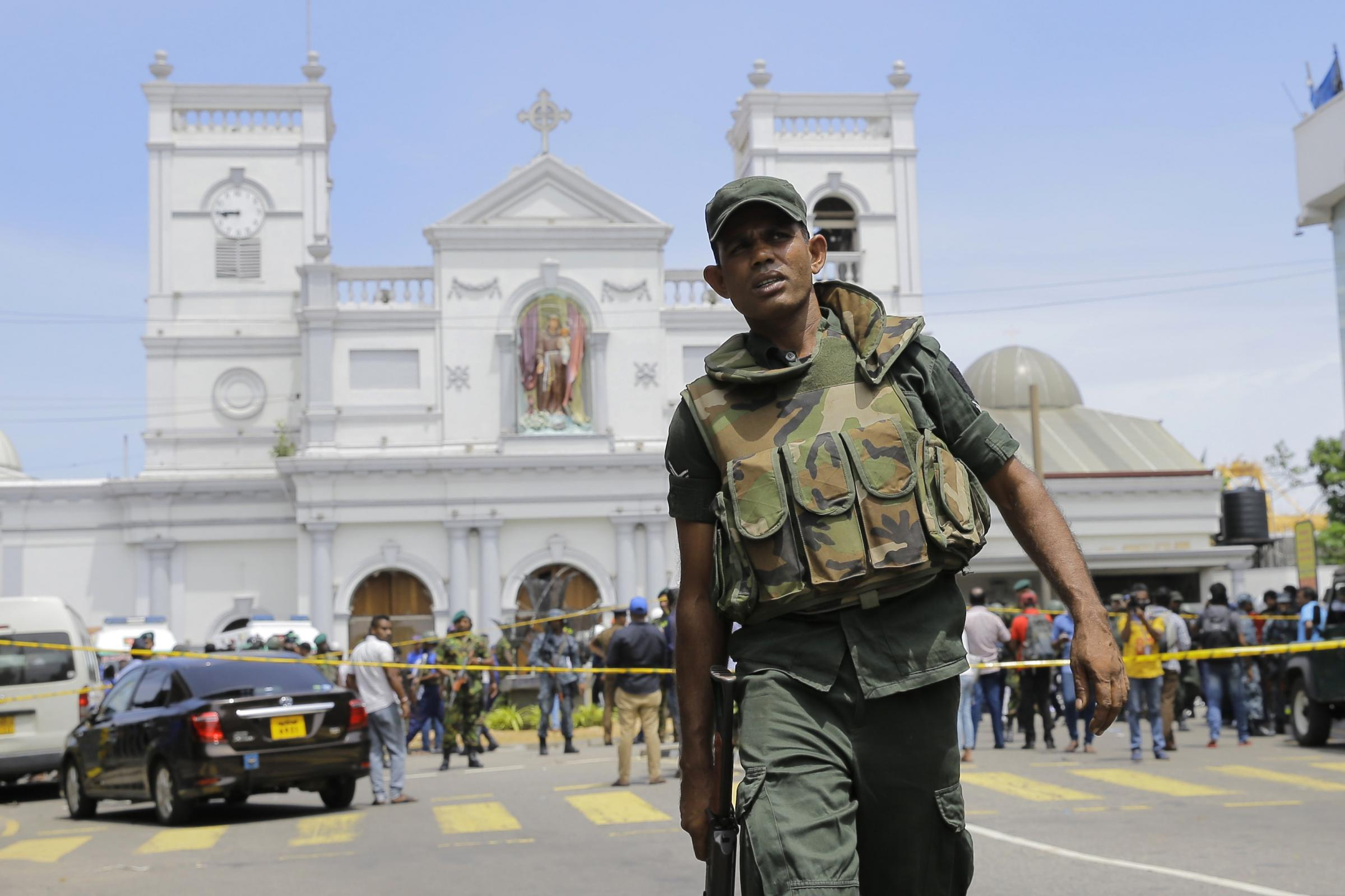 Sri Lankan soldiers at St Anthony's Shrine