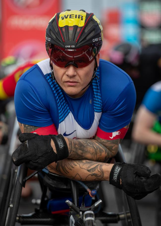 David Weir GBR ines up at the start of the Elite Men's Wheelchair race.