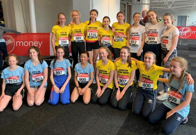 Harriers junior girls at the London Marathon