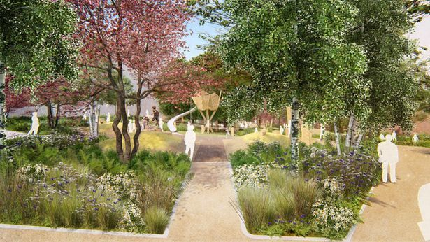 An artist\'s impression of how Queens Gardens in Croydon could look. Credit: HUB and Grant Associates. Free for use by all BBC wire partners.