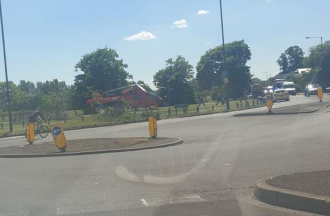 Emergency services in Mitcham town centre. Picture: Mo Shabz