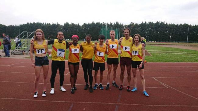 Hercules Wimbledon's winning mixed 4x400m relay teamsL-R Rebekah Riches, Pete McLeod, Rebecca Afriyie, Olivia Drigui, Edward Newton, Charlie Eastaugh, Freddie Slemeck and Lisa Thomas